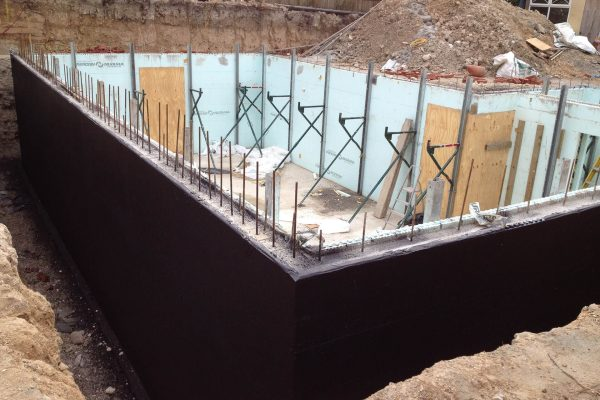 2014 External spray applied membrane on ICF construction